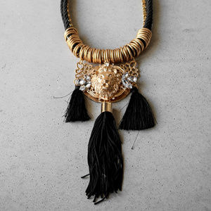 Black and gold tassel Lion Necklace longer